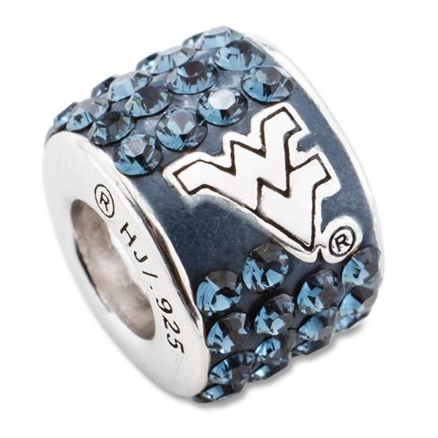 Sterling Silver West Virginia University Crystal Bead Charm
