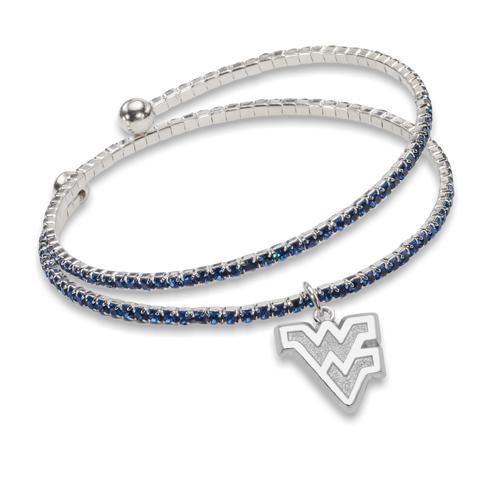 West Virginia University Amped Logo Crystal Bracelet