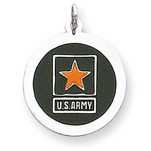 U.S. Army Star 7/8in Disc Charm - Sterling Silver