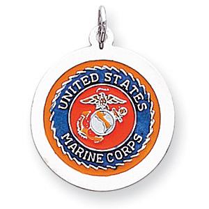 USMC Logo 7/8in Disc Charm - Sterling Silver