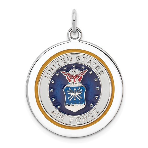 Sterling Silver 7/8in U.S. Air Force Disc Charm