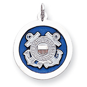 U.S. Coast Guard 7/8in Disc Charm - Sterling Silver