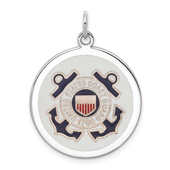 U.S. Coast Guard 7/8in Disc Charm - Sterling Silver