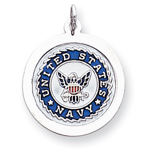 Sterling Silver 7/8in U.S. Navy Round Disc Charm