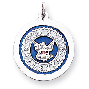 Sterling Silver 7/8in U.S. Navy Blue Enamel Disc Charm