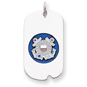 Sterling Silver U.S. Coast Guard Dog Tag with Blue Enamel