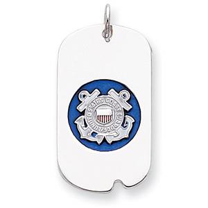 Sterling Silver U.S. Coast Guard Dog Tag with Blue Enamel