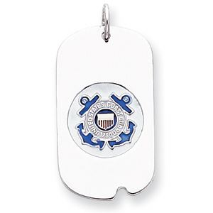 Sterling Silver U.S. Coast Guard Dog Tag with Blue Anchors