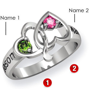 Sterling Silver Bridge of Hearts Ring