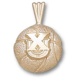 Xavier 1/2in Basketball Pendant 14kt Yellow Gold