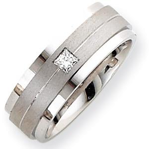 14kt White Gold 8mm 1/6 ct Diamond Wedding Band
