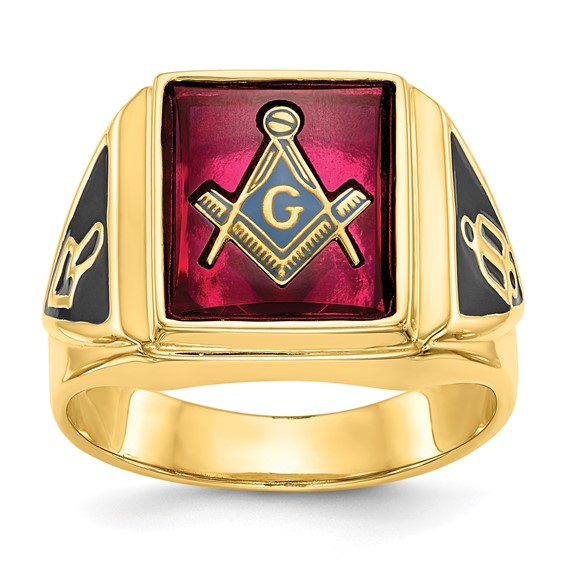 14kt Gold Blue Lodge Ring with Red Rectangular Stone