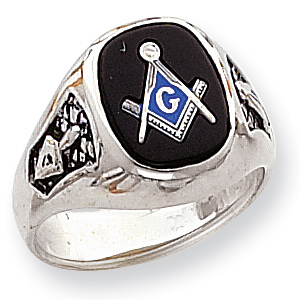 Oblong Blue Lodge Ring - 14kt White Gold