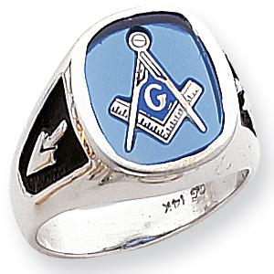 14kt White Gold Open Back Oblong Blue Lodge Ring