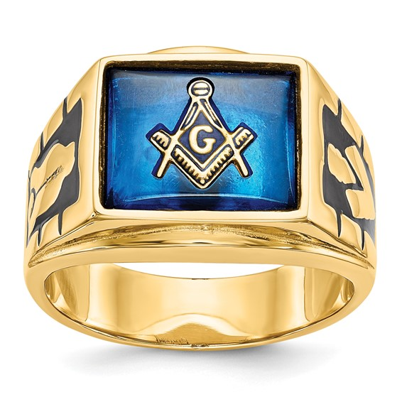 Rectangular Blue Lodge Ring with Blue Stone - 14k Gold