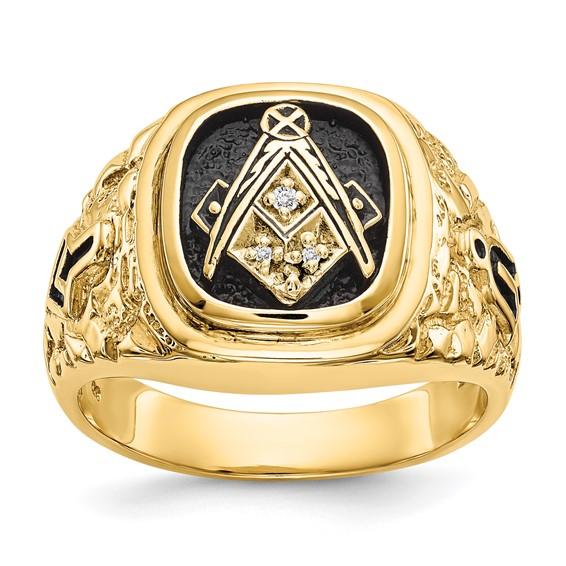 Jumbo Diamond Blue Lodge Ring - 14k Gold