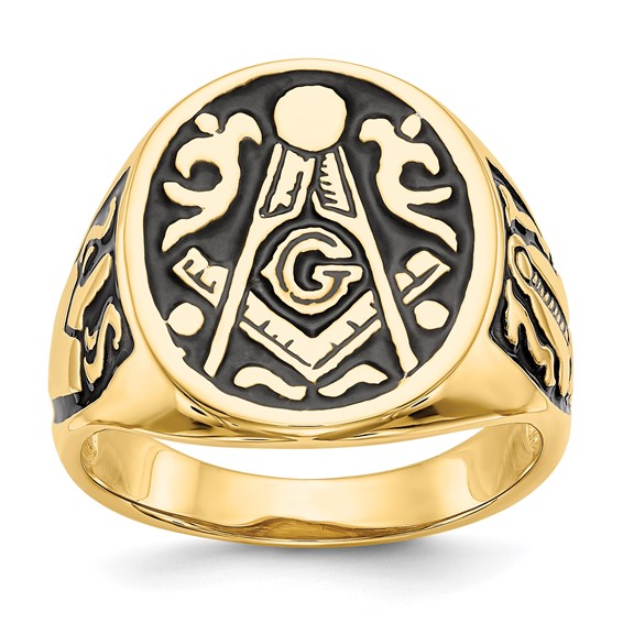 14k Yellow Gold Jumbo Blue Lodge Signet Ring with Open Back