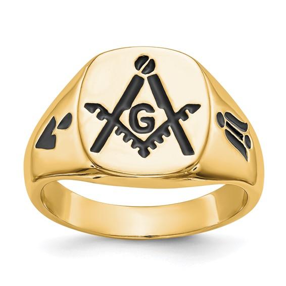 14kt Yellow Gold Masonic Signet Ring