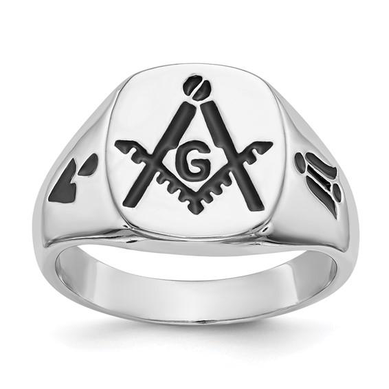14kt White Gold Masonic Signet Ring with Black Enamel