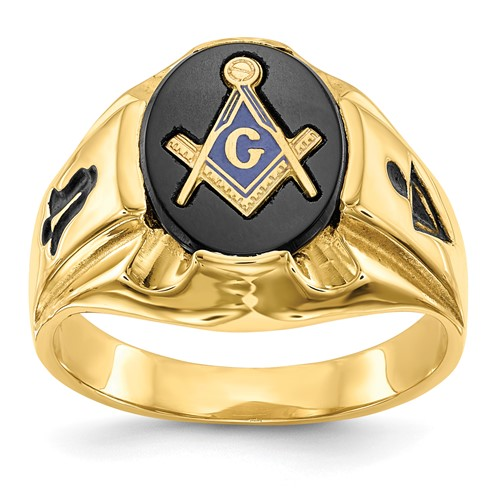 14kt Yellow Gold Oval Blue Lodge Ring