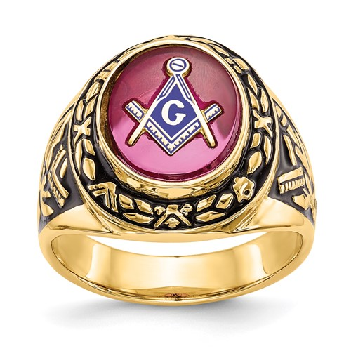 Jumbo Masonic Ring with Laurel Leaf Bezel 14k Yellow Gold