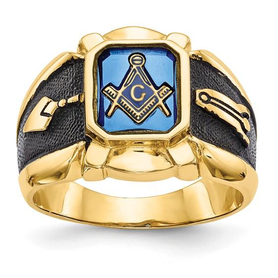 Octagonal Blue Lodge Ring - 14k Gold