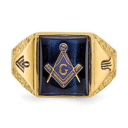 Rectangular Masonic Ring Tapered Sides Blue Stone 14k Yellow Gold