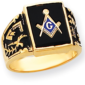 Rectangular Masonic Ring Wide Shank 14k Yellow Gold