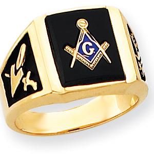 Rectangular Blue Lodge Ring - 14k Gold