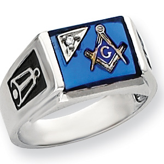 Diamond Blue Lodge Ring - 14kt White Gold
