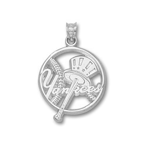 Sterling Silver 3/4in New York Yankees Bat Pendant