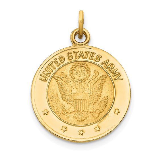 14kt Yellow Gold U.S. Army Insignia 5/8in Disc Pendant