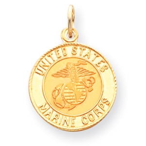 14kt Yellow Gold 5/8in Round USMC Medal
