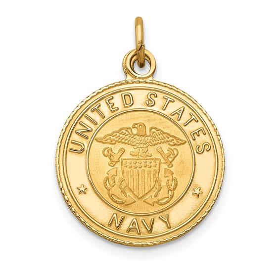 14kt Yellow Gold 5/8in U.S. Navy Insignia Disc Pendant
