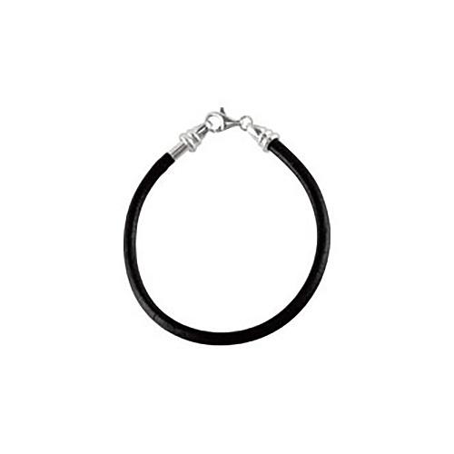 7 1/2in Kera Black Leather Braided Bracelet