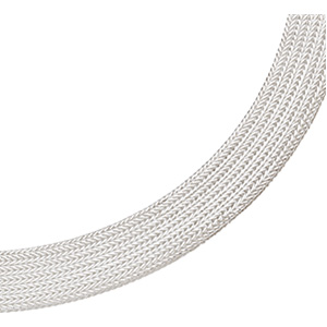 Sterling Silver 17in Flat Foxtail Mesh Chain 12mm