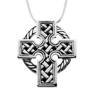 Sterling Silver 1 1/2in Celtic Cross & 18in Chain