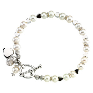 Sterling Silver and Pearl Friendship Bracelet