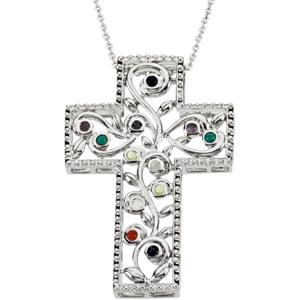 Sterling Silver 12 Step Program Cross Necklace