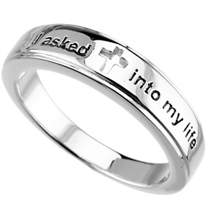 Sterling Silver I Asked Jesus Into My Life Ring Size 7