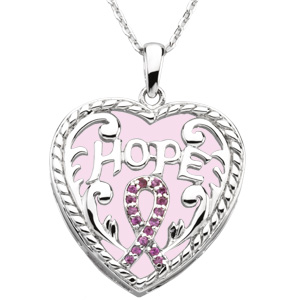 Sterling Silver Breast Cancer Awareness Heart Pendant & Chain