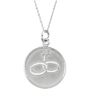 14kt White Gold Loss of Spouse Pendant & Chain