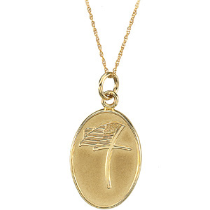 14kt Yellow Gold Military Loss Pendant & Chain