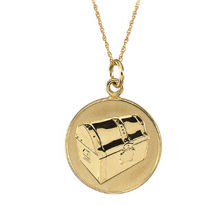14kt Yellow Gold Beautiful Treasure Pendant & Chain