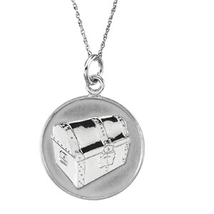 14kt White Gold Beautiful Treasure Pendant & Chain