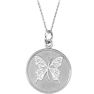 14kt White Gold Loss of Mother Pendant & Chain