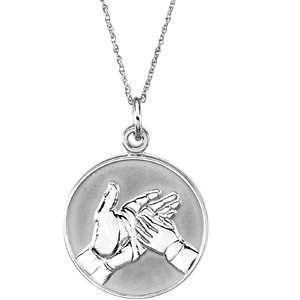 14kt White Gold Loss of Child Pendant & Chain