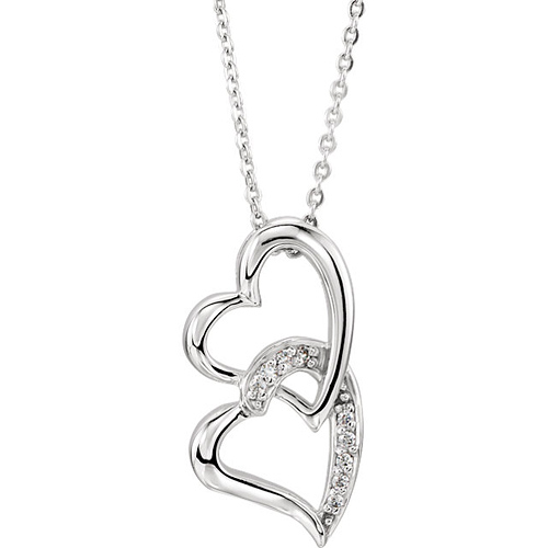 Sterling Silver Sisters by Heart Pendant & 18in Chain