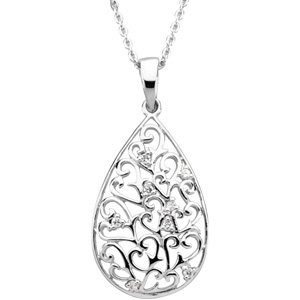 Sterling Silver Tear of Sympathy Pendant & Chain