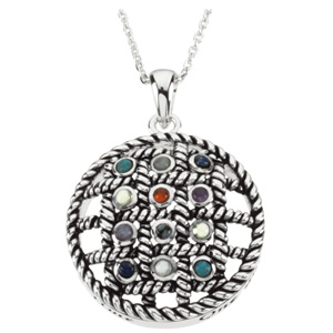 Sterling Silver 12 Step Sobriety Stone Pendant & Chain